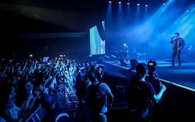 A banda norueguesa A-ha se apresenta no Espaço das Américas, em São Paulo, com os integrantes originais Morten Harket (vocalista), Magne Furuholmen (tecladista) e Pål Waaktaar (guitarrista), além de músicos de apoio (Foto: Fábio Tito/G1)