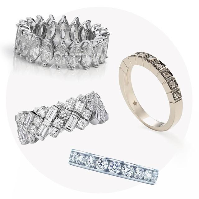 1) Aliança Andrea Conti; 2) Aliança de ouro branco e diamantes, Cartier; 3) Aliança de platina com diamantes, Tiffany; 4) Aliança Stars H.Stern de Ouro Nobre com diamantes cognac.  (Foto: Divulgação)