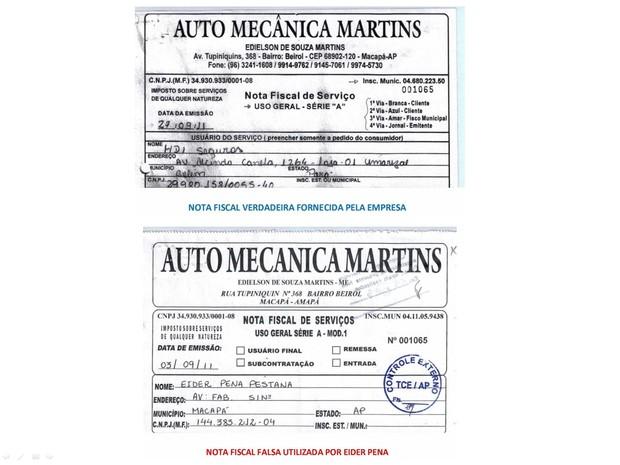 Nota falsificada (abaixo) apresenta discordância em relação a da empresa (acima)  (Foto: Divulgação/MPE)