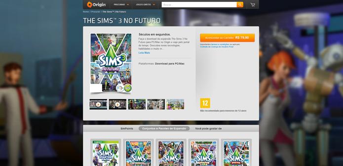 Página de uma das expansões de The Sims 3 (Foto: Reprodução/André Mello)
