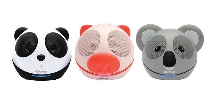 Caixas de som tem design de animais coloridos (Foto: Divulgação/Maxprint)