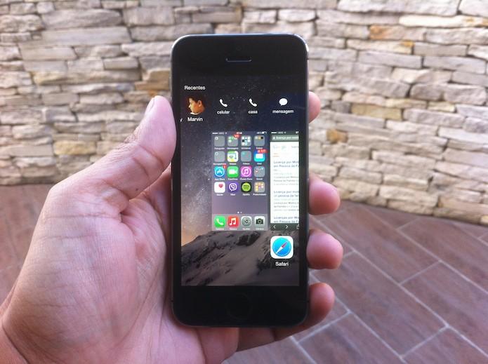 iOS 8: faça ligações ou envie mensagens utilizando os contatos favoritos (Foto: Marvin Costa/TechTudo)