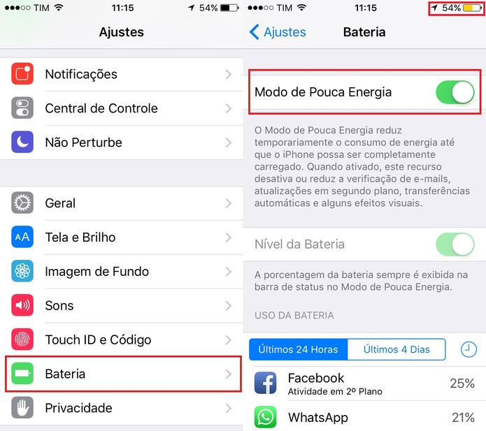 Ative o Modo de Pouca Energia para economizar bateria do seu celular (Foto: Reprodução/Juliana Pixinine)