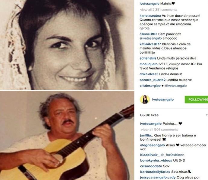 Homenagem de Ivete Sangalo aos pais, já falecidos, nas redes sociais. 'Painho' e 'Mainha', descreveu a baiana (Foto: Reprodução internet)