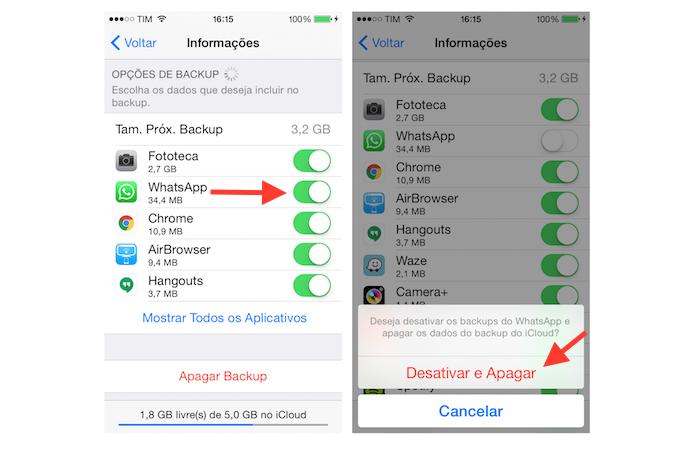Desativando o backup de aplicativos do iPhone no iCloud (Foto: Reprodução/Marvin Costa)