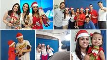 Funcionários  fazem gravação de vinheta de Natal (Montagem/G1)