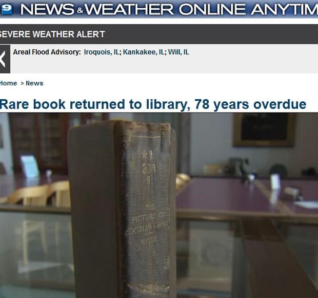 Edição rada de livro de Oscar Wild foi devolvida a biblioteca de Chicago (Foto: Reprodução)