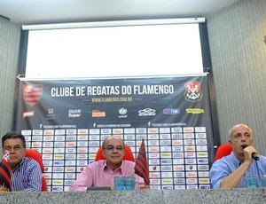 Paulo Pelaipe, Eduardo Bandeira de Mello e Wallim Vasconcellos, Cúpula do Flamengo (Foto: Alexandre Vidal / Fla imagem)