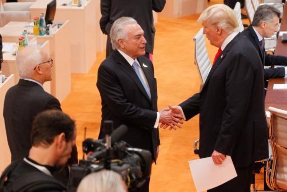 Temer e Trump, em encontro no G20 (Foto: Divulgação/Twitter)