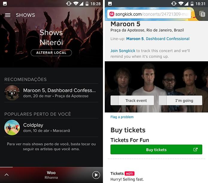 Spotify abre página para que usuário tenha mais detalhes sobre shows (Foto: Reprodução/Elson de Souza)