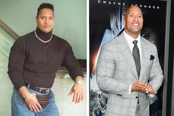 Dwayne Johnson em 1996 e em 2015 (Foto: Facebook / Getty Images)