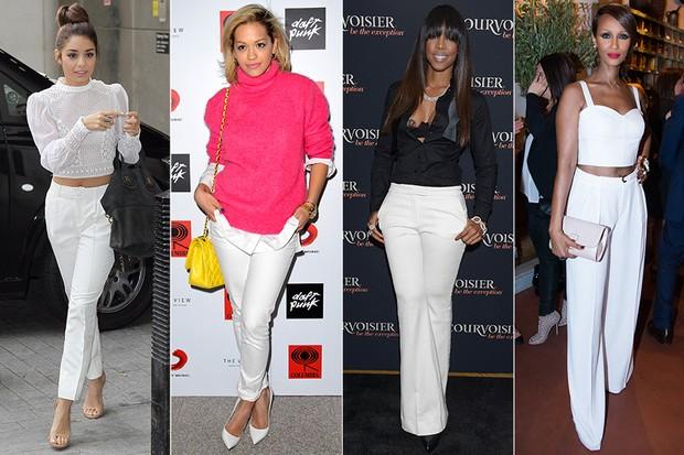MODA - Calça Branca - Vanessa Hudgens, Rita Ora, Kelly Rowland e Iman (Foto: Getty Images)