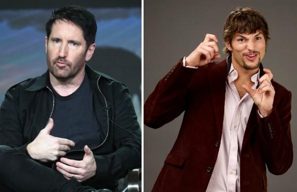 O músico Trent Reznor e o ator Ashton Kutcher (Foto: Getty Images)