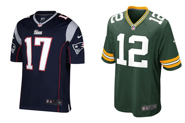 Camisas do New England Patriots e do Green Bay Packers serão vendidas no Brasil (Foto: Divulgação)