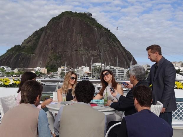 Sócias dão entrevista para divulgar o novo projeto  (Foto: Salve Jorge/ TV Globo)