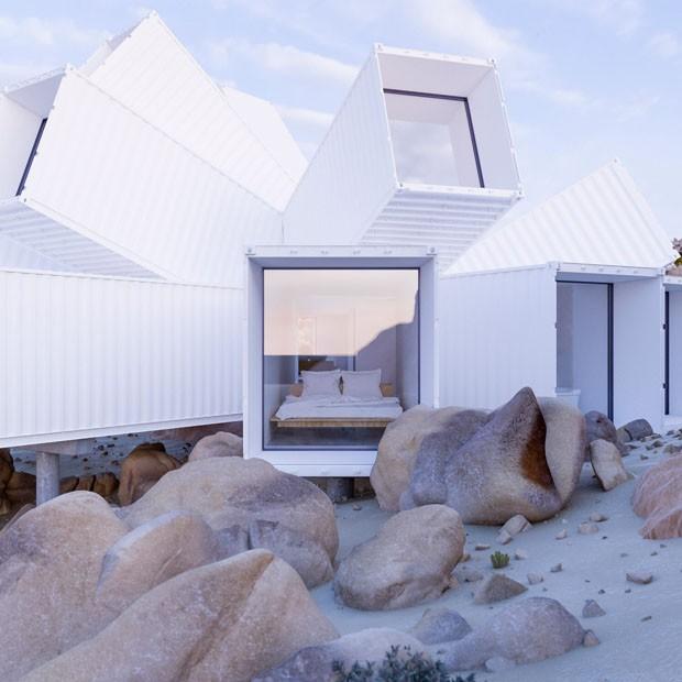 Casa impressiona com containers empilhados em vários ângulos (Foto: Reprodução)