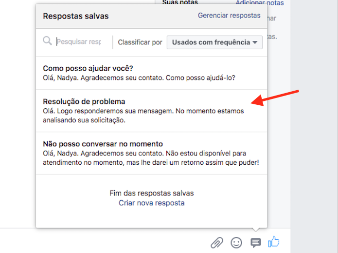 Opção para usar uma nova resposta padrão criada em uma página do Facebook (Foto: Reprodução/Marvin Costa)