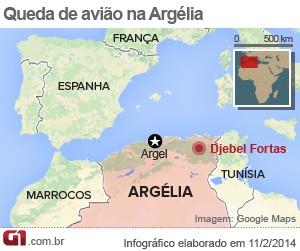 mapa queda avião argélia 11/2 (Foto: 1)
