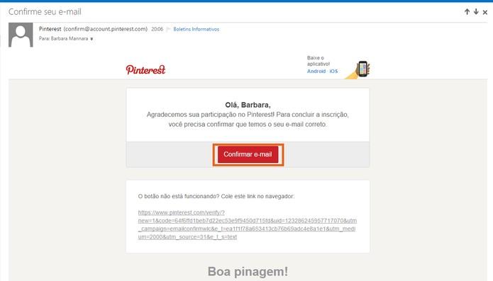 Confirme o e-mail do Pinterest para ativar o perfil (Foto: Reprodução/Barbara Mannara)