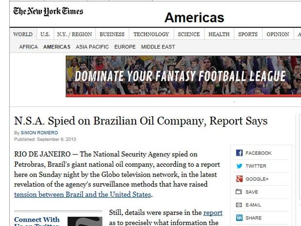 O 'New York Times'', em reportagem assinada por Simon Romero, afirma que não havia detalhes sobre a escuta nem sobre qual o objetivo do governo americano. (Foto: Reprodução)