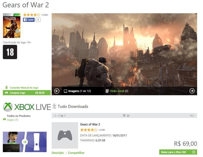 Página de Gears of War 2 na Xbox LIVE Marketplace (Foto: Reprodução/André Mello)