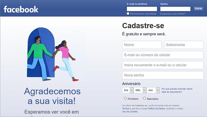 Crie uma nova conta no Facebook (Foto: Reprodução/Paulo Alves)