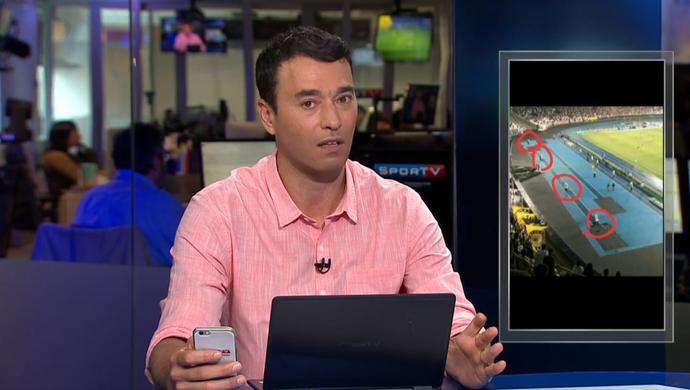 Rizek mostra caixas de som no estádio Nilton Santos; Botafogo (Foto: Reprodução SporTV)