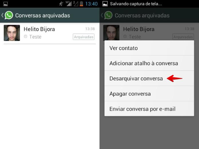 Desarquivando conversa no WhatsApp para Android (Foto: Reprodução/Helito Bijora)