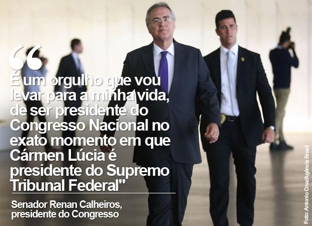 Senador Renan Calheiros diz ter 'orgulho' de presidente Congresso com Cármen Lúcia no STF (Foto: Antonio Cruz/Agência Brasil)