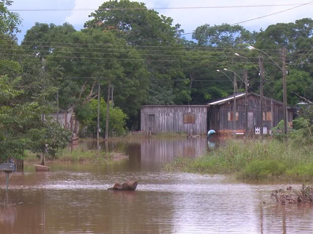 500 pessoas estão desalojadas por causa de cheia (Foto: Rede Amazônica/ Reprodução)
