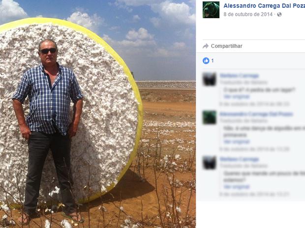 Alessandro Carrega Dal Pozzo era produtor rural em Barra do Garças (Foto: Reprodução/Facebook)