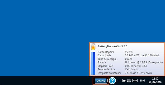Ícone com a porcentagem da bateria será mostrado na barra de tarefas do Windows 10 (Foto: Reprodução/Barbara Mannara)