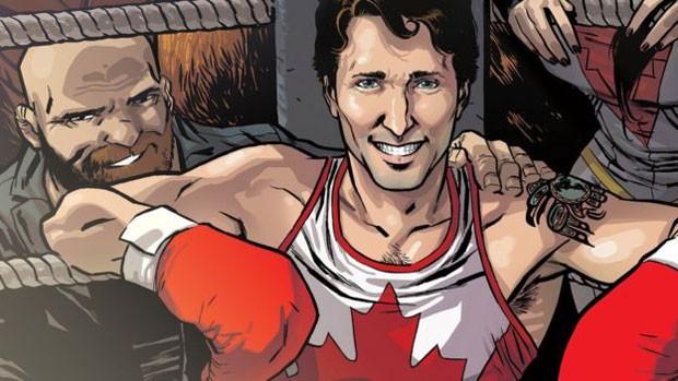 Justin Trudeau aparece na capa de HQ com luvas de boxe. (Foto: Marvel/Ramon Perez)