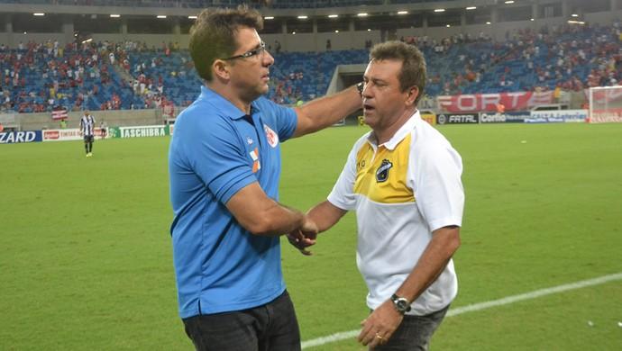 Marcelo Martelotte e Zé Teodoro - técnico do América-RN e ABC (Foto: Jocaff Souza/GloboEsporte.com)