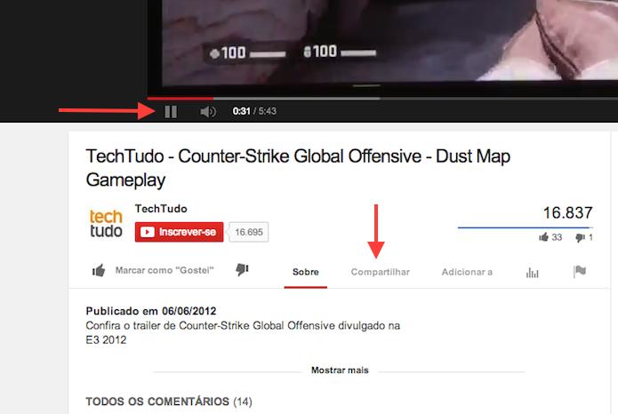 Preparando o compartilhamento de um vídeo no YouTube (Foto: Reprodução/Marvin Costa)