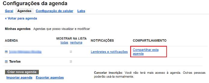 Configurações de compartilhamento do Google Agenda (Foto: Reprodução/Lívia Dâmaso)