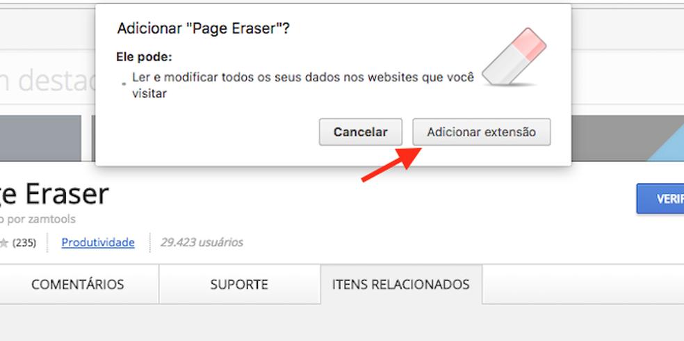 Opção para baixar e instalar a extensão Page Eraser no Google Chrome (Foto: Reprodução/Marvin Costa)