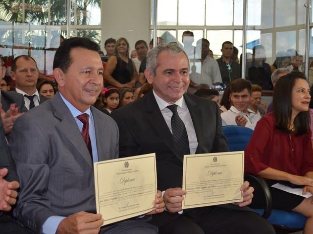 Prefeito eleito, Nélio Aguiar (DEM) e o vice-prefeito eleito, José Maria Tapajós (PR) (Foto: Adonias Silva/G1)