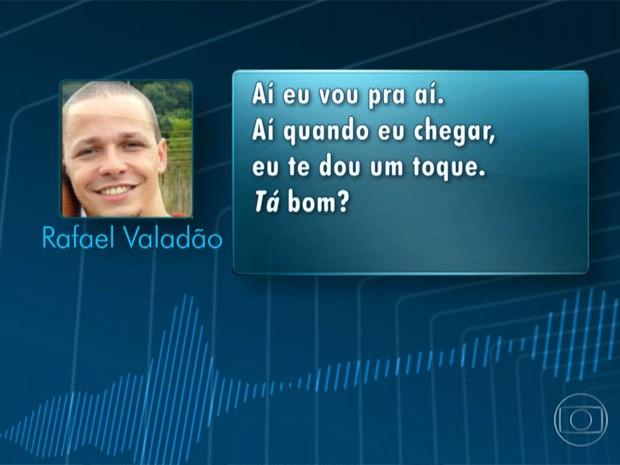 Transcrição de conversa entre suspeito e vítima (Foto: Reprodução/TV Globo)