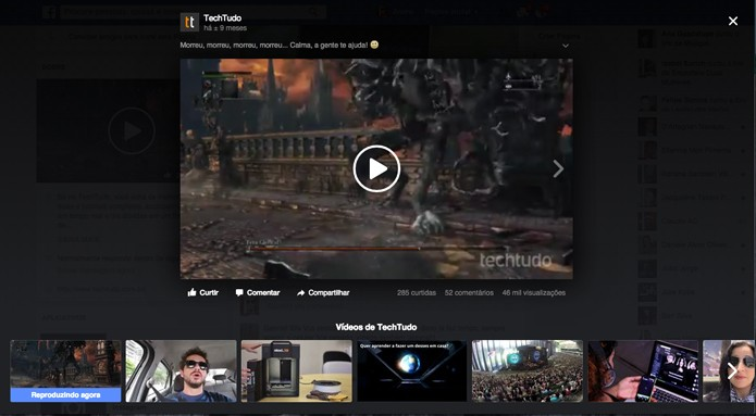 Interface permite ver vídeos em sequência (Foto: Reprodução/André Sugai)