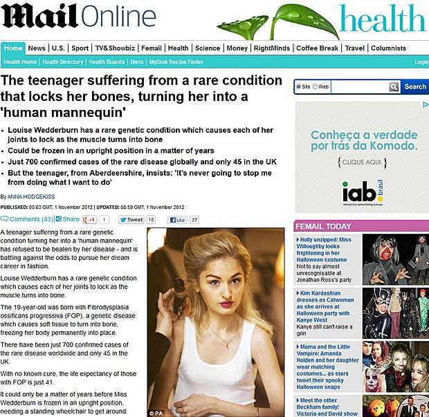Modelo (Foto: Daily Mail/Reprodução)