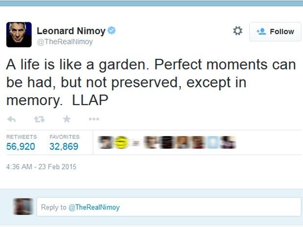 Último tuíte de Leonard Nimoy, o Spock de 'Jornada nas estrelas' (Foto: Reprodução/Twitter)