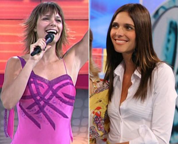 À esquerda, Fernanda de cabelo curto em 2005 e à direita em 2007 no Vídeo Game (Foto: TV Globo / Willian Andrade)
