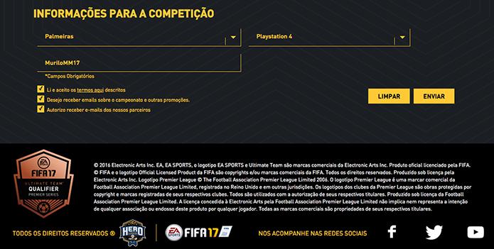 Adicione suas informações do Fifa 17 (Foto: Reprodução/Murilo Molina)