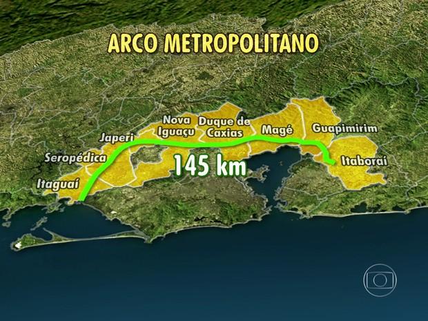 Arco Metropolitano interliga oito municípios em 145 km de rodovia  (Foto: Reprodução / TV Globo)