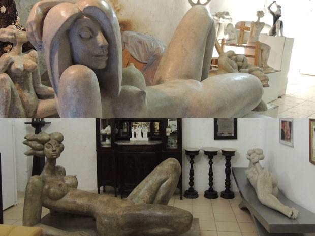 Esculturas estão espalhadas pela casa de Abelardo, que deve se transformar num museu (Foto: Vitor Tavares / G1)