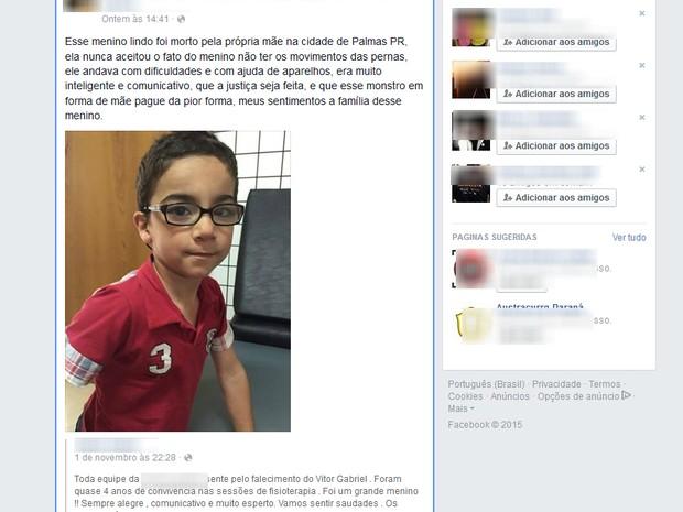 Garoto de 5 anos foi encontrado morto em Palmas no domingo (1º) (Foto: Reprodução/Facebook)