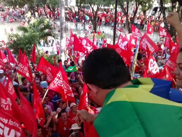 manifestantes se rúnem na Praça do Ferreira (Foto: Andre Teixeira/G1)
