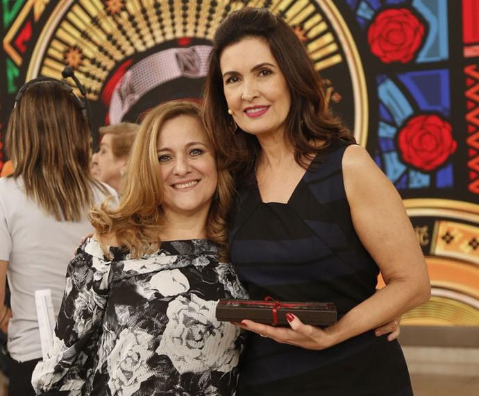 Convidada do programa com a Fátima  (Foto: Raphael Dias/Gshow)