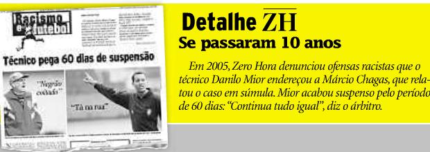 Detalhe Jornal Zero Hora; Árbitro Márcio Chagas da Silva; racismo (Foto: Reprodução/Internet)